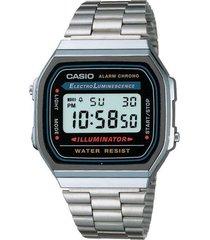 reloj casio a_168wa_1w plateado acero inoxidable