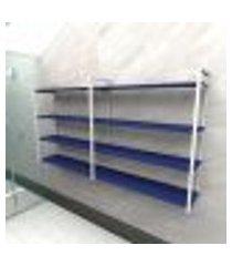 prateleira industrial banheiro aço cor branco 180x30x98cm (c)x(l)x(a) cor mdf azul modelo ind55azb