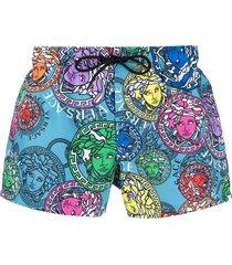 versace medusa-head motif swim shorts - blue