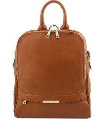 tuscany leather tl141376 tl bag - zaino donna in pelle morbida cognac