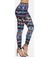 high rise skinny christmas elk print pants