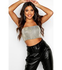 glitter bonded metallic crop top, champagne