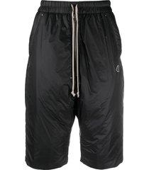 moncler + rick owens drawstring waist padded shorts - black