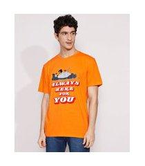 "camiseta masculina manga curta mogli e balu always here for you"" gola careca laranja"""