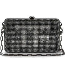 tom ford vintage logo crystal-embellished clutch bag - black