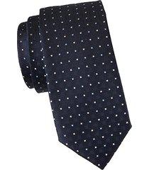 square-embroidered silk tie