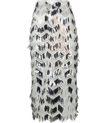 anouki fringed sequinned pencil skirt - silver