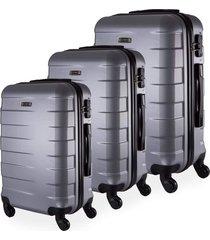 conjunto de mala de viagem em abs yins copenhagen cadeado tsa rodas giro 360º 3 peças p/m/g prata