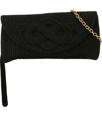 shanghai tang braided knot clutch - black