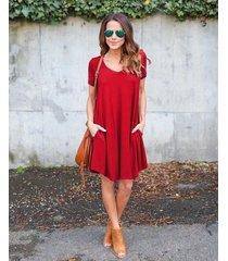 casual loose mini vestidos con bolsillos manga corta cuello redondo -rojo