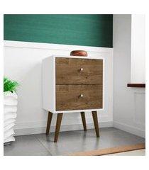mesa de cabeceira móveis bechara mb2015 branco/madeira rústico
