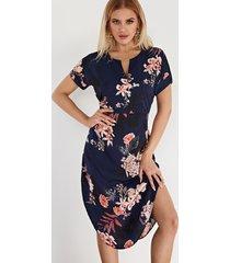 vestidos de manga corta con cuello en v y estampado floral azul marino