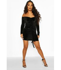 petite ruched velvet bodycon dress, black
