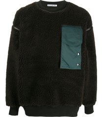 acne studios contrast pocket fleece sweatshirt - brown