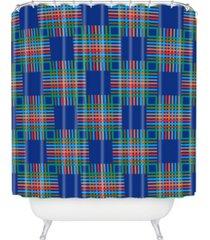 deny designs holli zollinger cross hatch blue shower curtain bedding