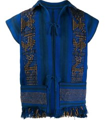 a.n.g.e.l.o. vintage cult 1970s embroidered vest - blue
