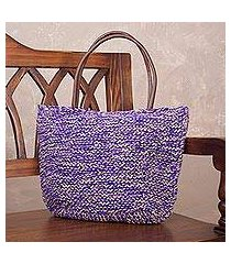 jute shoulder bag, 'sweet purple' (peru)