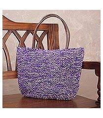jute shoulder bag, 'sweet purple' (peru)