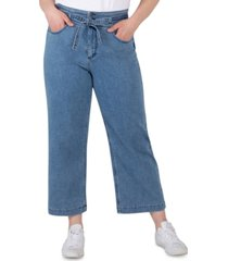 silver jeans co. trendy plus size belted high-rise wide-leg crop jeans