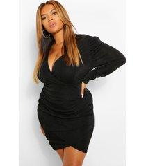 plus getextuurde strakke wikkel bodycon jurk, zwart