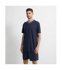 pijama curto básico gola v | viko | azul | g