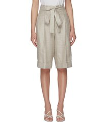 'judy' double belt loop wool silk linen shorts