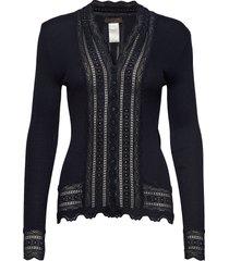 silk cardigan regular ls w/wide lac blouse lange mouwen blauw rosemunde