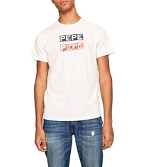camiseta blanco-azul-naranja pepe jeans