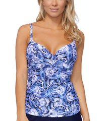 island escape saltwater tie-dye gemini printed tankini top, created for macy's women's swimsuit
