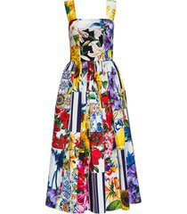 dolce & gabbana poplin dress with floral patch print