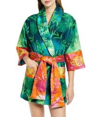 versace jungle print short robe, size large - green