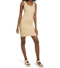 women's vero moda polly rib tank dress, size x-small - beige