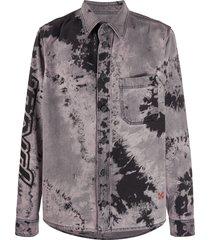 off-white tie-dye print denim shirt - grey