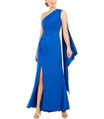 adrianna papell draped one-shoulder gown