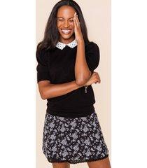 women's analisa polka dot collar sweater in black by francesca's - size: l