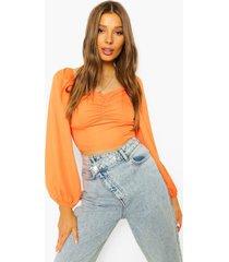 blouse met geplooide buste en lange mouwen, orange