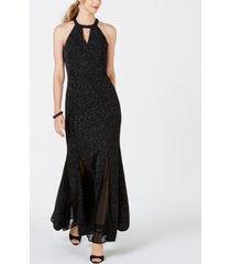 nightway glitter-knit teardrop gown
