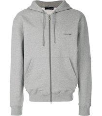 balenciaga logo printed cardigan hoodie - grey
