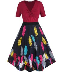 plus size twisted feather print a line dress