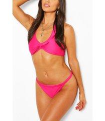 driehoekige bikini met ribboorden, roze