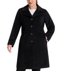 anne klein plus size single-breasted walker coat, created for macy's