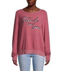 wildfox women's heathered slogan sweatshirt - ruby - size l