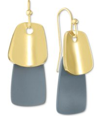 alfani gold-tone & gray paddle drop earrings, created for macy's