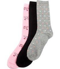 medias caña larga pack x 3 unidades color rosado/gris/negro color surtido, talla 9-11
