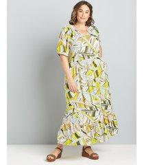lane bryant women's elbow-sleeve notch-neck maxi dress 18 yellow outline print