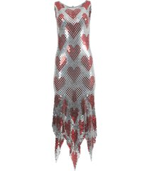 silver and red heart chain-link midi dress