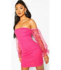 bardot mini dress with organza sleeves, hot pink