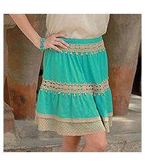 viscose skirt, 'ruffled green' (india)