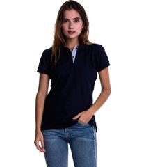 camiseta polo hamer, básica de mujer, casual, para uso diario, clasica color azul oscuro