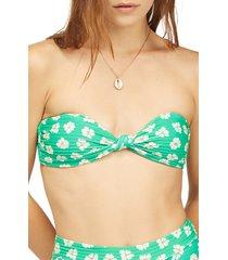 billabong x wrangler going green lulu bandeau bikini top, size x-large in clover at nordstrom